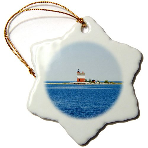 3dRose ORN_144712_1 USA Michigan, Macinaw City, Round Island Lighthouse Us23 Pha0003 Peter Hawkins Snowflake Ornament, Porcelain, 3-Inch