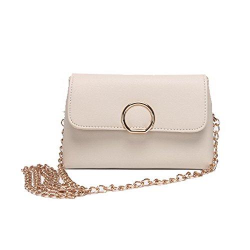 Pants Fashion Cross Pu Women's Casual Metal Bags Beige Allhqfashion fq4BFEw4