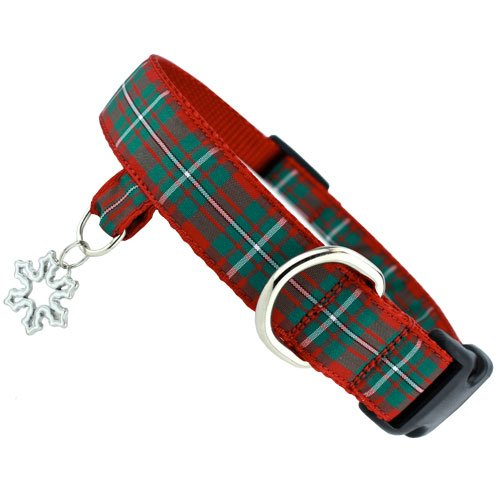 Red Plaid Holiday Dog Collar with tab for Dog ID, Charm