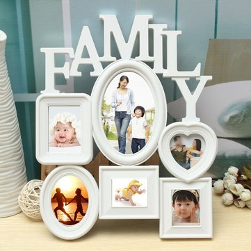 Family Picture Frames Photo Frame Wall Hanging Picture Holder Display Home Decor White Plastic^.