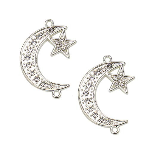 JETEHO 20pcs Sliver Crystal Moon Star Charms Pendants for Jewelry Making Earring