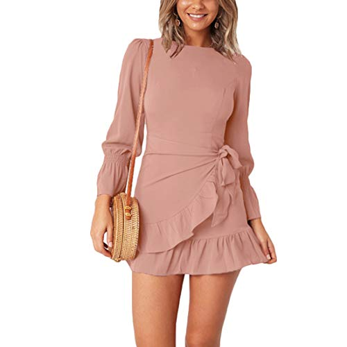 - WEEPINLEE Womens Long Sleeve Round Neck Ruffles Wrap Dresses Party Dress (Pink, M)