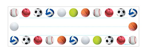Hygloss Products Sports Balls Kids Name Plates for Desks Cubbies Lockers - 9.5 x 2-7/8 Inch, 36 Pack