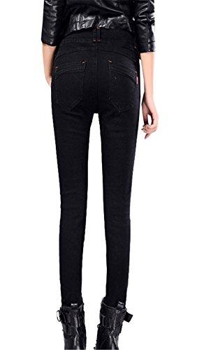 Stretch Alta Attillati Vita Dabag Jeans Tapered Pantaloni Up Autunno Pants Donna Pantalone Push Nero Primavera Izzqx8Sw