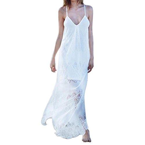 Maxi Vestir de Blanco Tirantes Recto Vestido Mujer Manga JYC Largo Mujer Verano Playa Dama Suelto Volantes Cordón Puños Cortar los Vintage Vestido Elegantes Casual Vestidos Sin Boho BB4nqAxSf