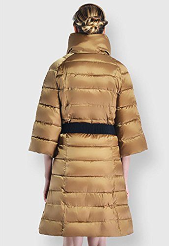 Fifth Long Coat Pocket 3XL In Sleeve Jacket Down The Warm YELLOW The Jacket Slim Fashion Thickened Coat Section Autumn Winter Snow Zipper And Of Artificial Women'S Fur EnTPq7qF0
