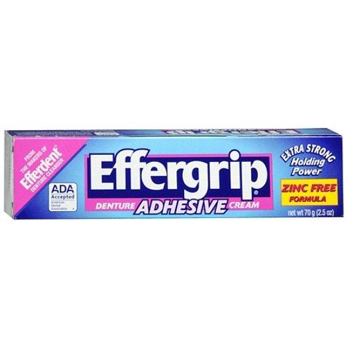 Effergrip Extra Strong Denture Adhesive Cream, Zinc Free 2.5 oz (Pack of 4)