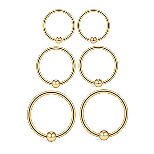 22G Sterling Silver Small Hoop Earrings Set 14K Gold Plated Ball Bead Hoop Cartilage Earrings Helix Tragus Lip Nose Body Piercing Rings for Women Men Girls, 8mm 10mm 12mm (Gold:8/10/12MM)