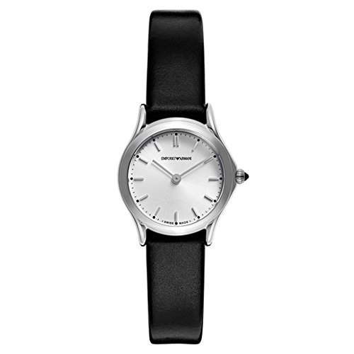 Emporio Armani Swiss Made Women's Quartz Stainless Steel and Leather Dress Watch, Color:Black (Model: ARS7200)
