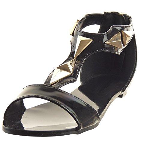 Sopily - Chaussure Mode Sandale Ouverte Salomés hauteur cheville femmes Brillant verni clouté Talon bloc 1 CM - Noir