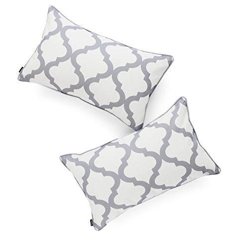 (Hofdeco Decorative Lumbar Pillow Cover INDOOR OUTDOOR WATER RESISTANT Canvas Modern Grey Moroccan Quatrefoil 12