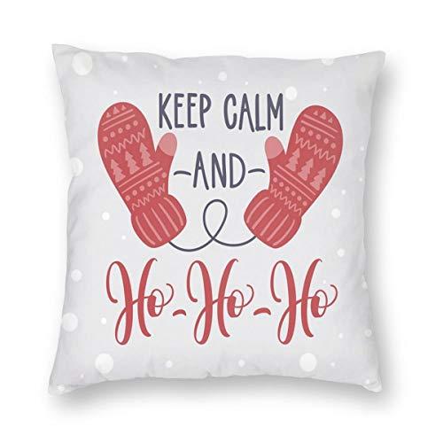 (K0k2to Keep Calm Throw Pillow Cushion Cover,Christmas Fun Theme with Snowfall Seasonal Gloves Ho Ho Ho Santa Print,Decorative Square Accent Pillow Case)