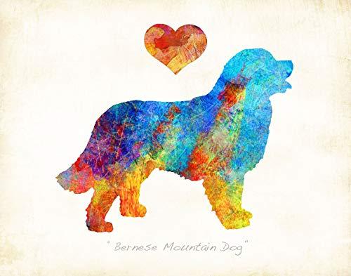 Mountain Dog Watercolor - BERNESE MOUNTAIN Dog Breed Watercolor Art Print by Dan Morris