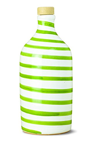 Bottle Oil Gourmet (Antico Frantoio Muraglia | Italian Extra Virgin Olive Oil Premium First Cold Pressed Gourmet EVOO | CAPRI GREEN Collectible Handmade Ceramic Bottle | 16.9 Fl.oz (500 ml))