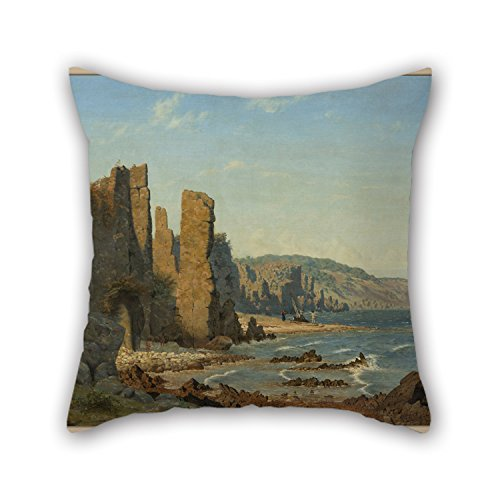 TonyLegner Oil Painting Vilhelm Kyhn - Beach Formation On Bornholm. Scene from R? Pillow Shams 16 X 16 Inches / 40 by 40 cm Gift Or Decor for Club Coffee House Deck Chair Kids Father Wife - Each Side]()
