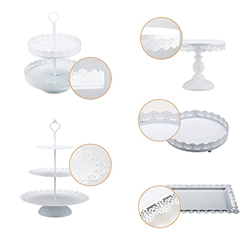 VityElk 5 Pcs Cake Stands Set, White Cake Stand Set for Dessert Table, Cupcake Holder Dessert Display Plate for Wedding Birthday Party Shower Celebration Home Decor Gifts