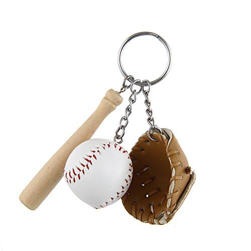 (Lureme Fashion Mini Baseball & Wooden Bat Glove Keychains-Brown (kc000066-2))