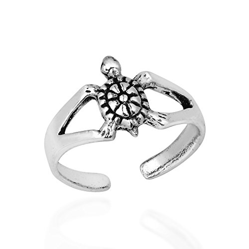 AeraVida Charming Little Marine Turtle .925 Sterling Silver Toe Ring or Pinky Ring