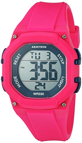 Armitron Sport Women's 45/7080MAG Navy Blue Accented Digital Chronograph Hot Pink Resin Strap - Chronograph Digital