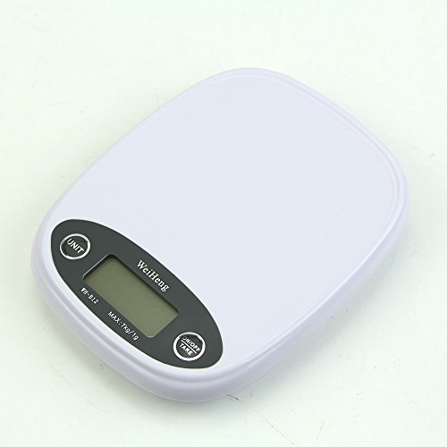 Hunulu Kitchen Scale Digital Backlight 7kg/1g 5kg Food Diet Postal Weight Balance g lb (white)