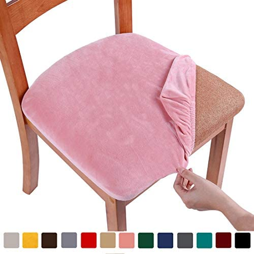 picture of smiry Original Velvet Dining Chair Seat Covers, Stretch Fitted Dining