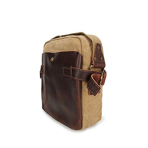 Bag Zipper Comfortable Khaki Messenger Retro Shopping Simple Color Canvas Waterproof Shoulder 0qgxpwT