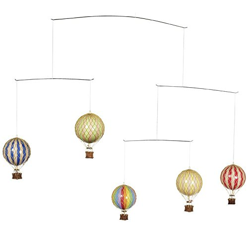 Authentic Models Flying the Skies Mobile with Primary-Colored Hot Air Balloons