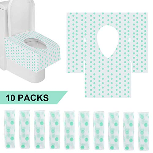 Toilet Seat Covers Disposable Potty Training Seat Covers Waterproof & Non-Slip Individually Wrapped 10 Counts Universal Size for Adults, Kids & Toddler