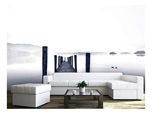 Large Wall Mural Landscape of a Wood Jetty and Calm Lake Vinyl Wallpaper Removable Wall Decor