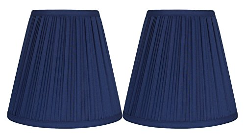 (Urbanest Hardback Pleated Faux Silk Empire Lamp Shade, 5-inch by 9-inch by 8.5-inch, Set of 2, Navy Blue)