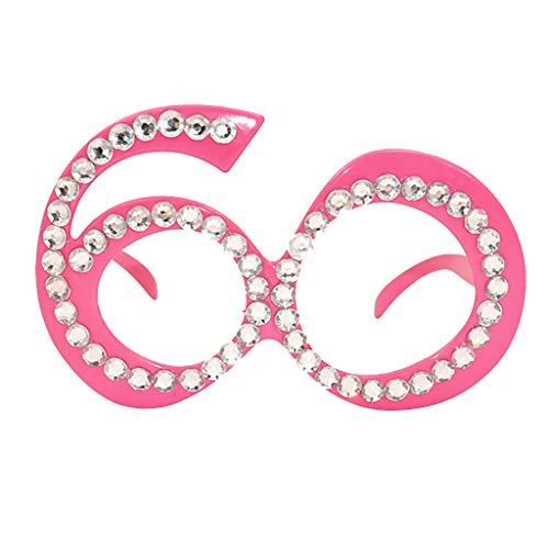 MaxFox Party Sunglasses Funny Crazy Fancy Dress Rhinestone Plastic Frame Glasses Novelty Costume Props Accessories for Ladies Girls (G)