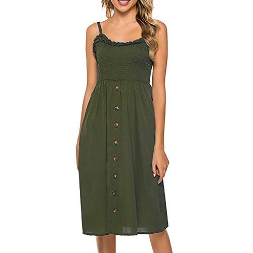 Sunhusing Women's Wavy Polka Dot Print Frilled Sleeveless Ruffle Trim Buttoned Suspender Dress with Pocket Army Green