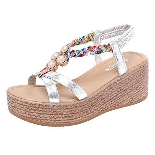 ◕‿◕ Watere◕‿◕ Women Platform Sandals, High-Heeled Muffin Bottom Pearls with Wedges Fish Mouth Sandals Thick Peep Toe Silver ()