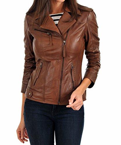LEATHER FARM Women's Lambskin Leather Bomber Biker Jacket (X-Small, TAN)
