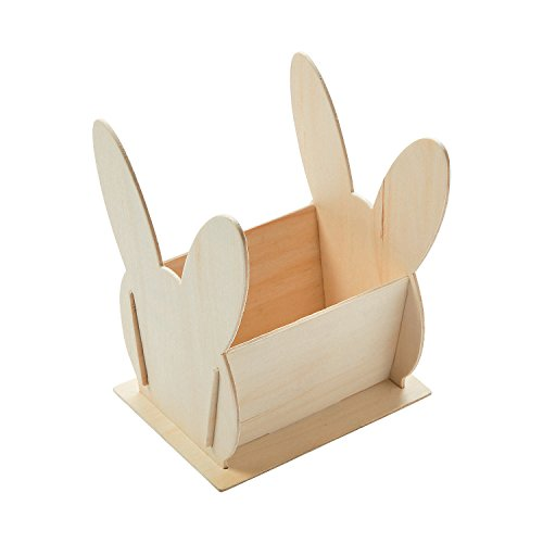 Fun Express - DIY Wood Bunny Shaped Basket 1 dz for Easter - Craft Kits - DYO - Wood - Misc DYO - Wood - Easter - 12 Pieces ()