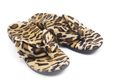 V.Step Women Leopard Print Slippers Faux Fur Slide Slip On Flats Sandals with Arch Support Open Toe Soft Girls Indoor Outdoor Shoes