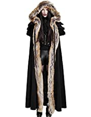 Punk Rave Women Black Gothic Wool Faux Fur Collar Winter Long Cape Coat Hooded Cloak