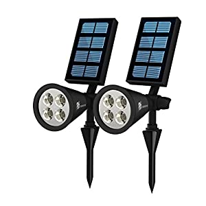 Waterproof Solar Garden Lights - Battery Powered Outdoor Sensor LED Lighting - Wall, Yard, Pool, Patio, Lawn or Driveway Mounting Lanterns - Pack of 2