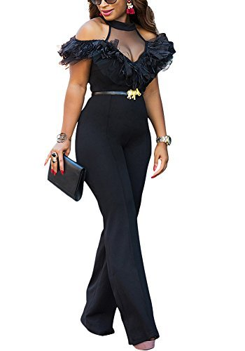 Women Halter Neck Patchwork Ruffle Wide Leg Long Pants Party Jumpsuits Romper Clubwear Black L (Halter Jumpsuit Neck)
