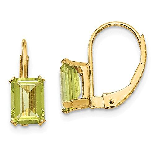 14k Yellow Gold Madi K Emerald Shape Peridot ()