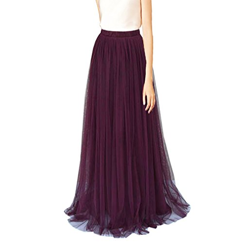 WDPL 3 Layers Soft Tulle Skirt Maxi Long Bridal Wedding Skirts for Women (US 16, Grape)