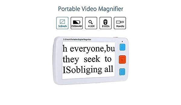 WNZL Lupa Digital portátil de 5.0 Pulgadas Ayuda de Lectura electrónica móvil con múltiples Modos de Color, batería Recargable, para la ceguera del Color para Baja visión 4X-32X Zoom,White: Amazon.es: Hogar