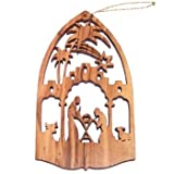 Nativity Scene Olive Wood Christmas Ornament - Laser carving (10.5x6 cm or 4....