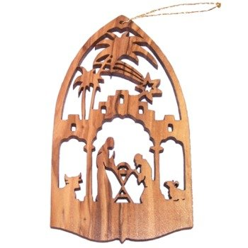 Nativity Scene Olive Wood Christmas Ornament - Laser carving (10.5x6 cm or 4.... -