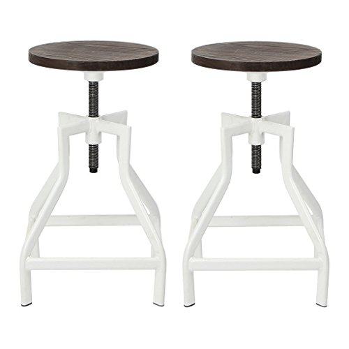 VIVA HOME Swivel Bar Stool, Industrial Pub Height Barstool With Elm Seat, Set of 2, White (Recliner Chair And Stool Set)