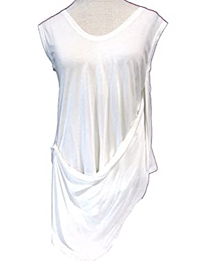 BCBGMAXAZRIA Mira Super Soft Asymmetrical Tunic, Off White/White, Size Small