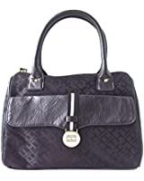 Tommy Hilfiger Box Satchel Hand Bag Canvas Black