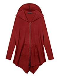 Urban CoCo Women's Plus Size Hooded Sweatshirt Jacket Cape Style