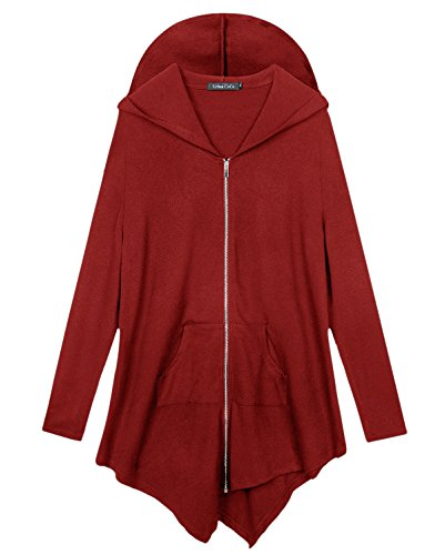 Sale Cheap Top Hats For (Urban CoCo Women's Pluse Size Hooded Sweatshirt Jacket Cape Style (2XL,)