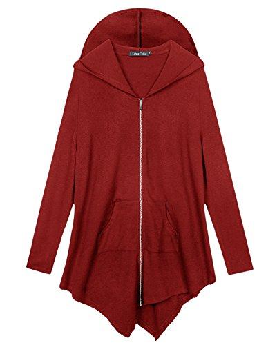 Women's Plus Size Hooded Sweatshirt Jacket Cape Style (X-Large, Red)